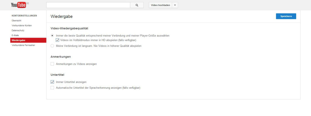 YouTube-Einstellungen